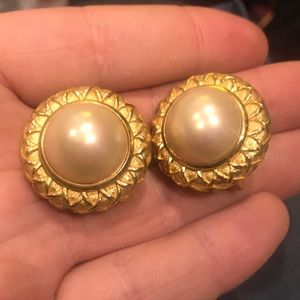 Burberry Jewelry - Burberry vintage earrings Mabe Pearl gold tone